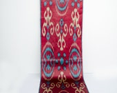 Red blue cream ikat fabric by the yards, Fully hand woven and hand dyed authentic ikat fabric