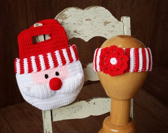 Girl's Santa Purse Crochet Pattern Christmas Bag and Striped Headband with Flower