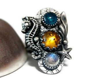 Unique Gemstone Statement Ring, Moonstone Seahore Ring, Mermaid Queen, Gypsy Ring, Artisan Jewelry