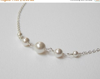 Graduated Pearl Necklace - Sterling Silver Swarovski Pearl Necklace Maid of Honor Gift Bridesmaids Wedding Party Bridal Accesories