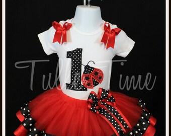 1st First red Lady bug birthday onesie ribbon trim tutu dress size 6-12m, 12m or 18 m