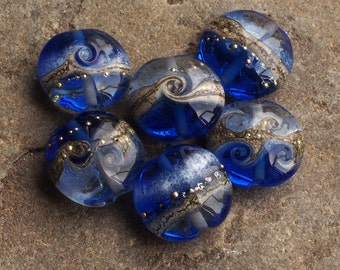 Sapphire Blue Lampwork Glass Beads ~ Blue Lentil Bead Set (6)