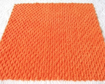 "Pumpkin Orange Vintage Chenille Bedspread Fabric Honey Comb Pattern - 22"" x 18"""