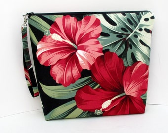 Project Bag, Tall Zippered Pouch, Hawaiian Red Hibiscus Flowers in Black, Tropical  Cosmetic Bag