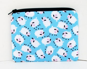Notions Bag, Small Zipper Pouch, Mini Sheep, Sky Blue