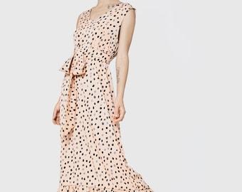 Pink, blush, cream doted maxi dress, romantic bridesmaids dress, evening gown, elegant dress, sexy dress