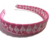 "Hot Pink, White, Red Hearts, Valentine's Day 1"" Woven Headband - Handmade Ribbon Braided Headband - Made To Order - Valentine's Day Headband"