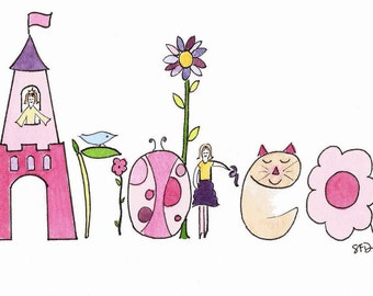 Personalized Baby Name Art, Custom Name Watercolor Painting, Nursery Wall Decor, Chloe, Sophia, Allie, Princess, Flowers, Birds, Ladybug