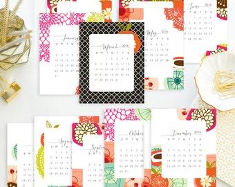 Instant. 4x5 - 2016 Retro Mod & Lace Printable Calendar.