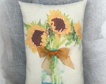 Sunflower mini pillow | Sunflower decor | Watercolor Sunflower |