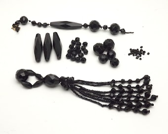 Destash Beads, French Jet, Black Beads, Vintage Beads, Hand Carved, Glass Beads, Faceted Beads, Jewelry Beads, Jewelry Supply, Seed Beads
