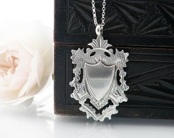 1903 Antique Medal | Edwardian Crest Medallion | Ornate Hand Chased Sterling Silver Medal | English Silver Hallmark - 20 Inch Sterling Chain