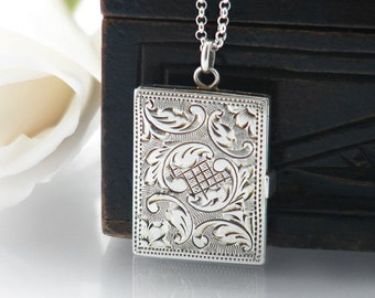 Antique Locket | Edwardian Sterling Silver Locket Necklace | Book Locket |  Hand Chased 925 Silver Rectangle Locket - 20 Inch Sterling Chain