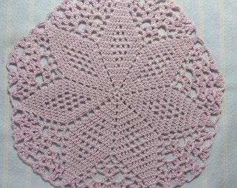 Light Lavender Doily-8 inch Doily-Pale Lavender Doily-Diamond Doily-Hand Crocheted Cotton Doily-Cindy's Loft