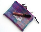 Pink tartan Makeup bag , Harris Tweed , cosmetic pouch , small wool pouch