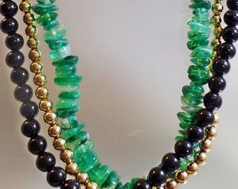FALL SALE Vintage Three Strand Beaded Necklace.  Faux Green Jade, Gold and Black Lucite Bead Necklace.