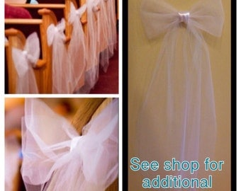 24 White or Ivory tulle/satin pew bows