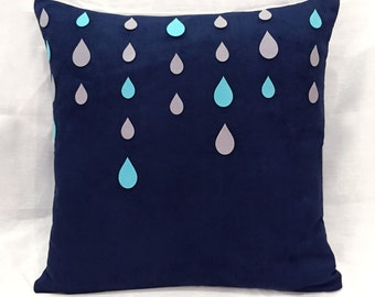 Rainy Days Navy Pillow Cover. Blue Grey Raindrops Decorative Cushion Cover. Modern Throw Pillow Case. New Home Gift