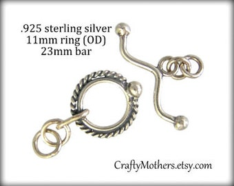 1 SET Bali Sterling Silver Fancy Toggle Clasp, 11mm ring with 23mm bar, artisan-made supplies