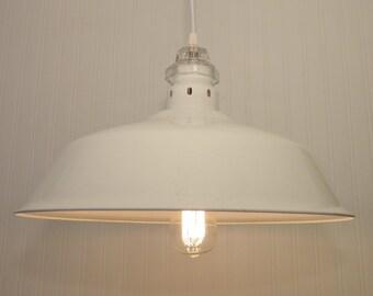 INDUSTRIAL White Enamel Metal Farmhouse Pendant Light