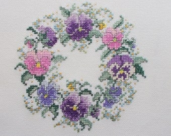 Cross Stitch Finished Unframed Lovely Pansy Wreath in Pink and Purple