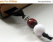 VALENTINE SALE Ribbon Bookmark - Beaded Bookmark in Black Satin, Cranberry, White and Silver. Handmade.