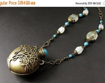 BACK to SCHOOL SALE Tree of Life Necklace. Moonstone Necklace. Turquoise Necklace. Amphora Bottle Necklace. Handmade Necklace. Handmade Jewe