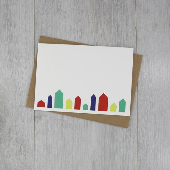 Houses in a Row greeting card. Blank inside. Perfect for a new home, moving house or just to say hello.