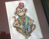 Original Embroidered Vintage Toy Monkey With Fez and Cymbals / Art / Home Decor - Hand stitched