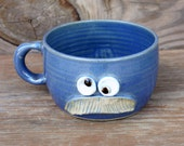 Manly Mustache Soup Mug. Funny Fall Autumn Chili Bowl. Coffee Cappuccino Latte Mug. Blue. Bushy Paintbrush Man's Mustache Bowl with Handle.