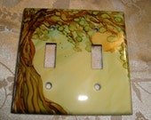 WHIMSICAL TREE  - Hand Painted Light Switch Plate, Double Switch, Earth Tones