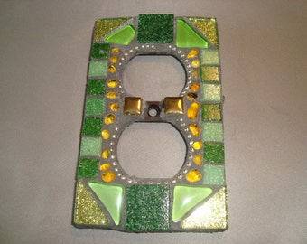 MOSAIC Electrical Outlet COVER, Shades of Green, Wall Plate, Plug