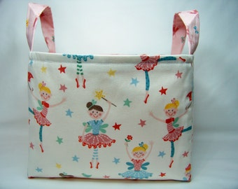 PK Fabric Basket in Ballerina on White - Tribeca Collection - Storage Basket - Diaper Caddy - Ready To Ship - Reversible