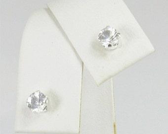 Danburite 4mm .50ctw Sterling Silver Stud Earrings Natural Untreated