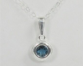 London Blue Topaz 6mm .95ct Sterling Silver Necklace Backset Bezel