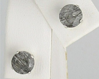 Tourmalinated Quartz 6mm Stud Earrings Sterling Silver Natural Untreaded