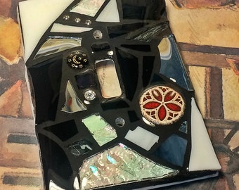 Black and White Glass Mix - STAINED GLASS MOSAIC Light Switch Cover - single, double, triple, outlet, or decora gfci - Made to order