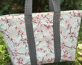 Large cherry blossom reversible  floral oilcloth tote bag on gray