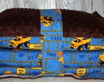 Kinder Nap Mat Cover - Construction Vehicles with Brown Minky - Ready To Ship