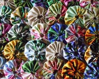 """1 1/2"""" Inch Pretty Flower  Mix Yo Yo  Trim Applique Pieces Embellishment # 5"""