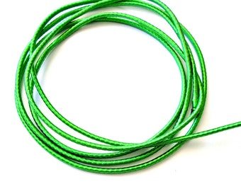 Wrapped silk cord, satin cord, green, 2 meters