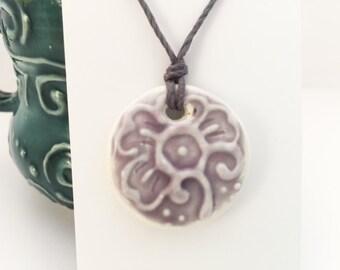 Medium Circle Pendant in Lavender