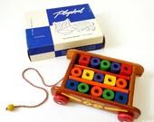 Vintage 1950s Playskool Col-O-Rol Wagon in Box VGC / Wood Blocks, Primary Colors / Building Blocks Pull Toy