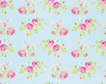 Zoey's Garden Fabric by Tanya Whelan Spring Floral Flowers Zoey Rose on Blue