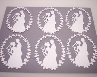 Bride and Groom paper die cut six count