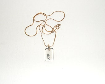 Dainty Etched Glass Pendant Necklace