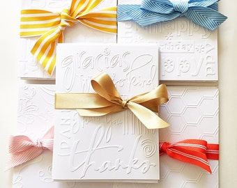 Embossed Thank You Cards. White Embossed Thank You Note Cards. Wedding Thank You Cards. Teacher Gifts. Embossed Stationrry. Card Set of 8