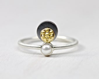 Delicate White Pearl 22k Yellow Gold Silver Ring Unique June Birthstone Statement Elegant Feminine Beach Gift Idea For Her - Tahitian Sunset