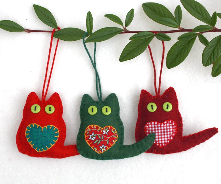 Cat christmas ornaments felt christmas ornaments christmas for Cat christmas ornaments craft