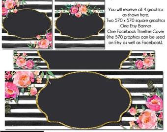 Esty Floral set, DIY Etsy and Facebook Set, DIY Graphics, Oh Carolina 2, Striped FB Set, Watercolor Etsy Set, Premade Etsy Set